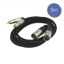 CABLES POWER ACOUSTICS 2 XLR MALES / 2 RCA MALE  3 METRES